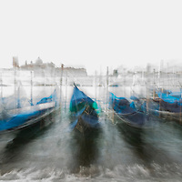 Long exposure of gondolas tied at the Grand Canal