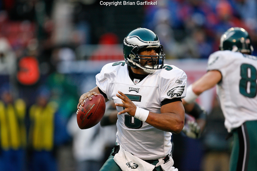 11 Jan 2009: Philadelphia Eagles quarterback Donovan McNabb #5 looks for a receiver during the game against the New York Giants on January 11th, 2009.  The  Eagles won 23-11 at Giants Stadium in East Rutherford, New Jersey.