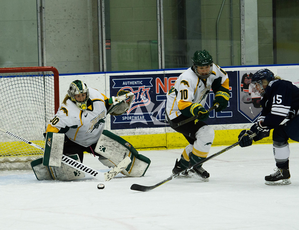 2nd year goalie Morgan Baker (30) of the Regina Cougars in action during the Women's Hockey home game on October 14 at Co-operators arena. Credit: Arthur Ward/Arthur Images