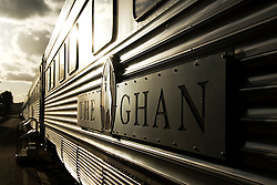Detail of the famous Ghan train carriage at sunset in Alice Springs in central Australia. The Ghan travels between Adelaide and Darwin.