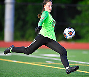 Althoff goalkeeper Anna Brewer clears the ball from the goal area. Althoff played Columbia in the sectional championship game at Althoff High School in Belleville, IL on Friday June 11, 2021. <br /> Tim Vizer/Special to STLhighschoolsports.com