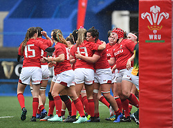 Wales Celebrate their second Try<br /> Wales Women v South Africa Women<br /> Autumn International<br /> <br /> Photographer Mike Jones / Replay Images<br /> Cardiff Arms Park<br /> 10th November 2018<br /> <br /> World Copyright © 2018 Replay Images. All rights reserved. info@replayimages.co.uk - http://replayimages.co.uk