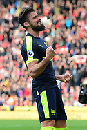 Olivier Giroud of Arsenal celebrates after he scores his teams 4th goal. Premier league match, Stoke City v Arsenal at the Bet365 Stadium in Stoke on Trent, Staffs on Saturday 13th May 2017.<br /> pic by Bradley Collyer, Andrew Orchard sports photography.