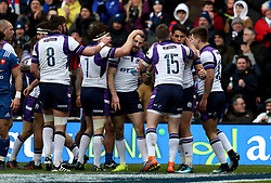 Scotland's Sean Maitland (second right) scores his side's first try of the game during the NatWest 6 Nations match at BT Murrayfield, Edinburgh.