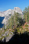 View of Half Dome from Glacier Point Trail in Yosemite National Park, California.