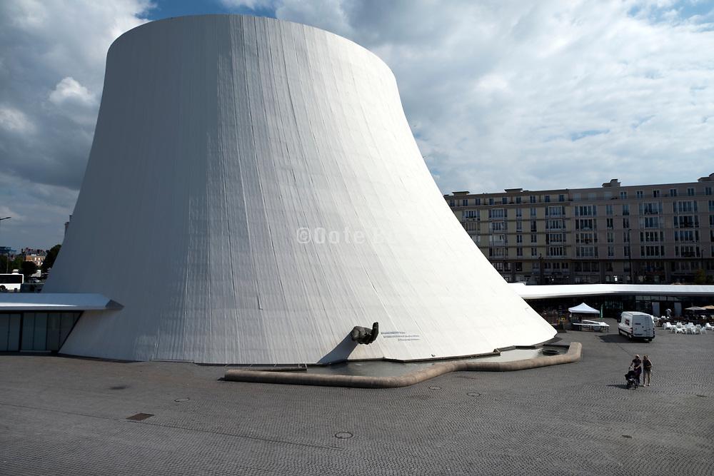 Général de Gaulle place, Le Havre, France with theater Le Volcan by architect Oscar Niemeyer