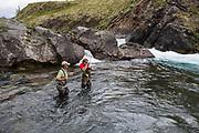 Fish on! Salmon on the line, Kisaralik RIver, Alaska
