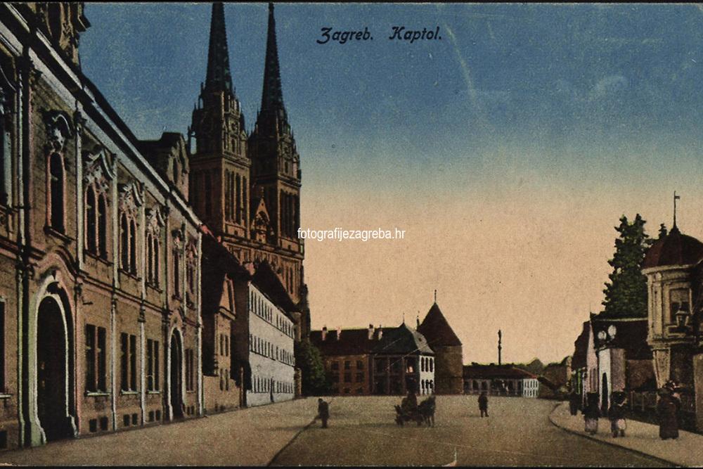 Zagreb : Kaptol. <br /> <br /> ImpresumZagreb : Naklada Rudolf Polaček, [1918].<br /> Materijalni opis1 razglednica : tisak ; 8,7 x 14 cm.<br /> NakladnikRudolf Polaček<br /> Vrstavizualna građa • razglednice<br /> ZbirkaGrafička zbirka NSK • Zbirka razglednica<br /> ProjektPozdrav iz Zagreba • Pozdrav iz Hrvatske<br /> Formatimage/jpeg<br /> PredmetZagreb –– Kaptol<br /> Katedrala Uznesenja Marijina (Zagreb)<br /> SignaturaRZG-KAP-59<br /> Obuhvat(vremenski)20. stoljeće<br /> NapomenaRazglednica je putovala 1918. godine.<br /> PravaJavno dobro<br /> Identifikatori000955566<br /> NBN.HRNBN: urn:nbn:hr:238:154395 <br /> <br /> Izvor: Digitalne zbirke Nacionalne i sveučilišne knjižnice u Zagrebu