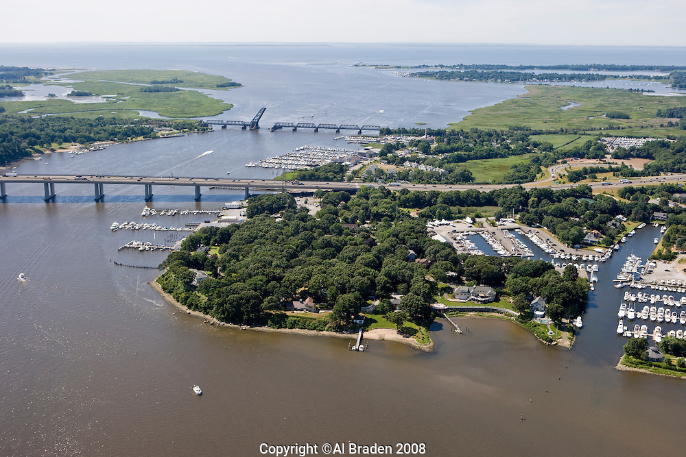 Aerial of Baldwin Bridge and Ferry Point along Connecticut River, Old Saybrook, CT
