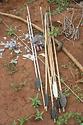 Africa, Tanzania, Lake Eyasi, Bow and arrows of the Hadza tribe a small tribe of hunter gatherers AKA Hadzabe Tribe April 2006