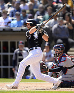 CHICAGO - MAY 14:  Ryan Cordell #49 of the Chicago White Sox bats against the Cleveland Indians on May 14, 2019 at Guaranteed Rate Field in Chicago, Illinois.  (Photo by Ron Vesely)  Subject:  Ryan Cordell
