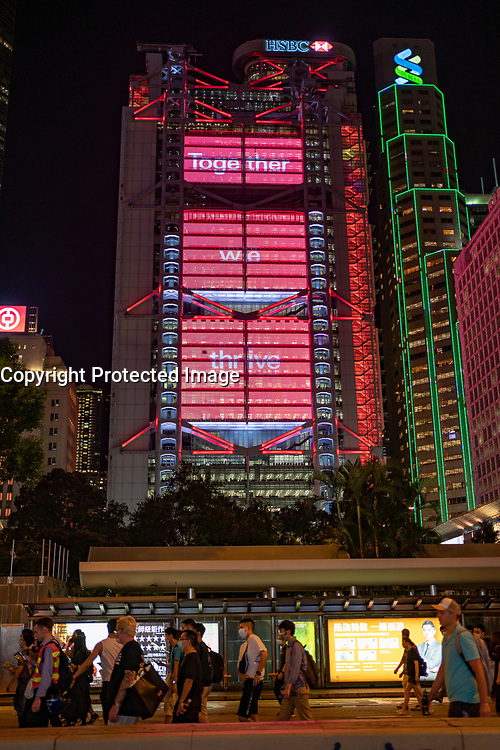 Hong Kong. 4th October 2019. Pro-democracy demonstrations and march at night in Central district of Hong Kong. HSBC HQ to rear.