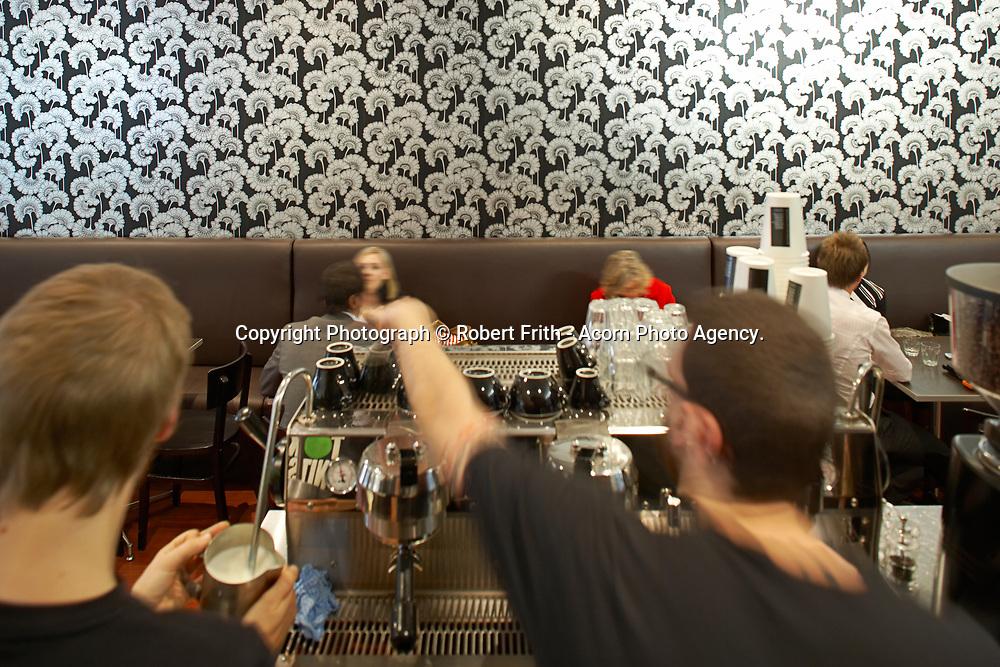Baristas at work at Velvet Espresso, King Street, Perth