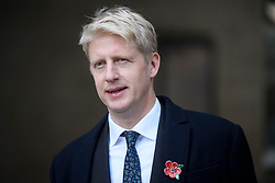 """© Licensed to London News Pictures. 10/11/2018. London, UK. JO JOHNSON MP Is seen leaving BBC Broadcasting House in London after he resigned as transport minister yesterday. Mr Johnson, brother of former foreign secretary Boris Johnson, resigned his ministerial post saying it's """"imperative we go back to the people and check"""" they still want to leave. Photo credit: Ben Cawthra/LNP"""