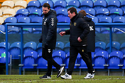 Cambridge United manager Mark Bonner talks with Mansfield Town manager Nigel Clough at full time - Mandatory by-line: Ryan Crockett/JMP - 20/02/2021 - FOOTBALL - One Call Stadium - Mansfield, England - Mansfield Town v Cambridge United - Sky Bet League Two