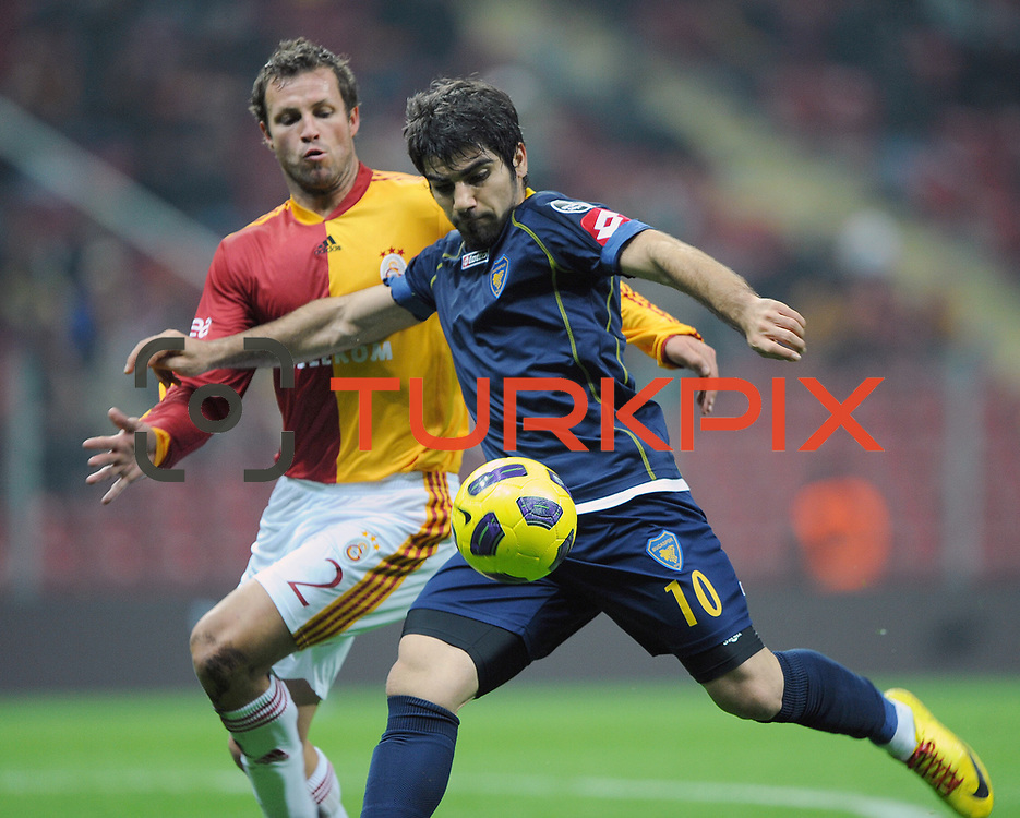 Galatasaray's Lucas NEILL (L) and Bucaspor's Sercan KAYA (R) during their Turkish Super League soccer match Galatasaray between Bucaspor at the Turk Telekom Arena at Seyrantepe in Istanbul Turkey on Saturday 19 February 2011. Photo by TURKPIX