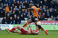 Middlesbrough defender Daniel Ayala blocks Wolverhampton Wanderers striker Benik Afobe shot during the Sky Bet Championship match between Wolverhampton Wanderers and Middlesbrough at Molineux, Wolverhampton, England on 24 October 2015. Photo by Alan Franklin.