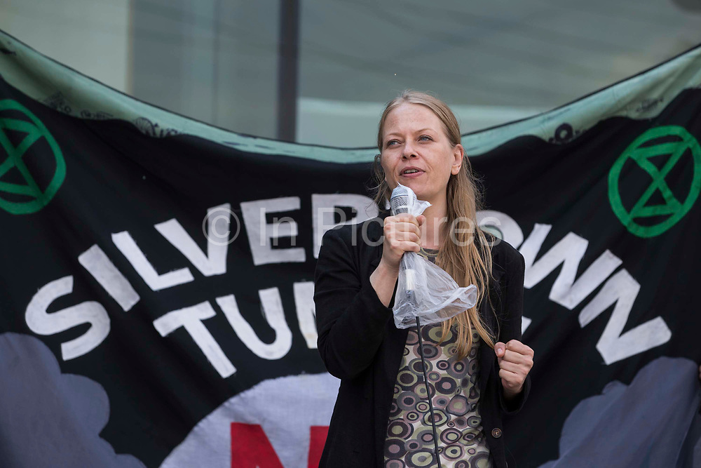 Sian Berry, co-leader of the Green Party, addresses environmental activists and local residents protesting against the construction of the Silvertown Tunnel on 5th June 2021 in London, United Kingdom. Campaigners opposed to the controversial new £2bn road link across the River Thames from the Tidal Basin Roundabout in Silvertown to Greenwich Peninsula argue that it is incompatible with the UKs climate change commitments because it will attract more traffic and so also increased congestion and air pollution to the most polluted borough of London.