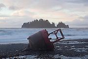 Giant ocean buoy washed ashore on First Beach near La Push, Olympic Peninsula, Washington.