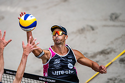Pablo Herrera ESP in action during the last day of the beach volleyball event King of the Court at Jaarbeursplein on September 12, 2020 in Utrecht.