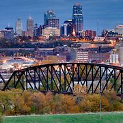 Downtown Kansas City Missouri skyline in the evening seen from Strawberry Hill in Kansas City, Kansas.