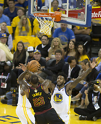 May 31, 2018 - Oakland, California, U.S - LeBron James #23 of the Cleveland  Cavaliers takes a shot  during  their NBA Championship Game 1 with the Golden  State Warriors  at Oracle Arena in Oakland, California on  Thursday,  May 31, 2018. (Credit Image: © Prensa Internacional via ZUMA Wire)