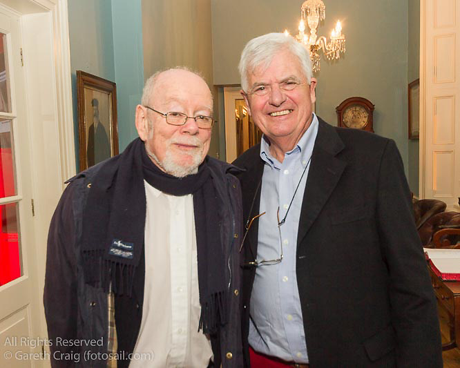 (l to r) Tom Kirby and Stuart Musgrave (of Baltimore SC) at the reunion night to celebrate 50 years of the Irish Fireball Class, held at the Royal St George YC.