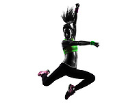 one  woman exercising fitness zumba dancing jumping in silhouette on white background