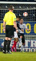 Falkirk's Lyle Taylor scoring their first goal..Falkirk v Livingston, 19/2/2013..©Michael Schofield.
