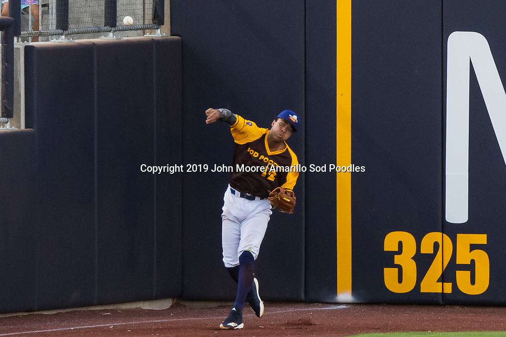 Amarillo Sod Poodles outfielder Buddy Reed (12) against the Frisco RoughRiders on Saturday, Aug. 17, 2019, at HODGETOWN in Amarillo, Texas. [Photo by John Moore/Amarillo Sod Poodles]