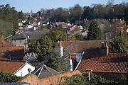 View over rooftops in valley, Woodbridge, Suffolk, England