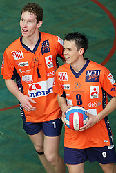 Tine Urnaut and Matija Plesko of ACH Volley at 4th and final match of Slovenian Voleyball  Championship  between OK Salonit Anhovo (Kanal) and ACH Volley (from Bled), on April 23, 2008, in Kanal, Slovenia. The match was won by ACH Volley (3:1) and it became Slovenian Championship Winner. (Photo by Vid Ponikvar / Sportal Images)/ Sportida)