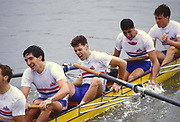 Henley, UNITED KINGDOM. Exhausted after the Final of the Grand GBR M8+ left to right, Gavin STEWART, Peter BEAUMONT, Salih HASSAN and Richard STANHOPE.  1988 Henley Royal Regatta, Henley Reach. [Mandatory Credit Peter Spurrier/Intersport Images]