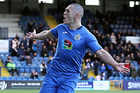 Frank Mulhern during the FA Cup fixture between Stockport County and Corby Town at Edgeley Park on 6 October 2018 / James Gill Media