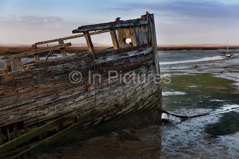 Rotting hull of a boat in the creek in Tollesbury, a village in England, located on the Essex coast at the mouth of the River Blackwater, Essex, United Kingdom. For centuries Tollesbury, the village of the plough and sail, relied on the harvests of the land and the sea. The main trade and export of Tollesbury, which still thrives to this day, has long been oysters.
