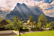 Grindelwald house looking towards the Eiger - Grindelwald Switzerland .<br /> <br /> Visit our SWITZERLAND  & ALPS PHOTO COLLECTIONS for more  photos  to browse of  download or buy as prints https://funkystock.photoshelter.com/gallery-collection/Pictures-Images-of-Switzerland-Photos-of-Swiss-Alps-Landmark-Sites/C0000DPgRJMSrQ3U
