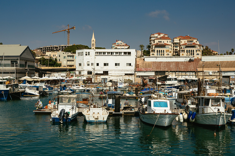 Boats docked at the Jaffa Port, near the Old City of Jaffa
