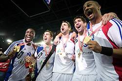 Luc Abalo (19), Michael Guigou (21), Guillaume Gille (5), Nikola Karabatic (13) and Didier Dinart (3) of France  celebrate after the 21st Men's World Handball Championship 2009 Gold medal match between National teams of France and Croatia, on February 1, 2009, in Arena Zagreb, Zagreb, Croatia. France won 24:19 and became World Champion 2009.  (Photo by Vid Ponikvar / Sportida)