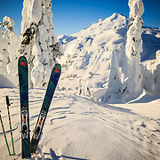 Tyler Hatcher's Wagner Custom skis set against Mount Baker in the Cascades of Washington State.