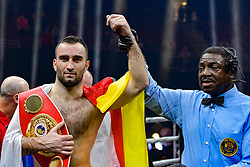 October 21, 2017 - Newark, New Jersey, USA - MURAT GASSIEV celebrates after defeating Krzysztof Wlodarczyk in a cruiserweight bout at the Prudential Center in Newark, New Jersey. (Credit Image: © Joel Plummer via ZUMA Wire)