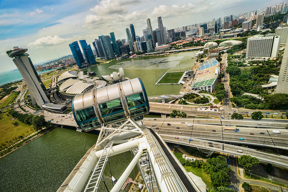 View of the City from the Singapore Flyer Ferris Wheel