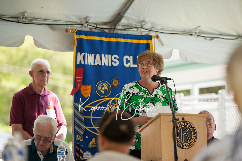 Jenny Nelson reads a letter from Bernie Sanders during the 70th Anniversary celebration of the Kiwanis Pool in St. Johnsbury Vermont.  Karen Bobotas / for Kiwanis International