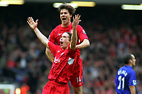 Harry Kewell Celebrates Scoring 3rd goal with team mate Xabi Alonso<br />Liverpool 2005/06<br />Liverpool V Everton 25/03/06 (3-1) at Anfield<br />The Premier League<br />Photo Robin Parker Fotosports International