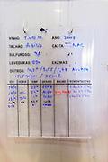 touriga nacional sign on tank with technical details temperature density etc quinta do vallado douro portugal