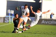 Joe Marchant of England © looks to evade the tackle from Edwill Van der Merwe of South Africa as England's Sam Aspland-Robinson ® supports. World Rugby U20 Championship 2016,  Semi Final match,  Match 24  , England U20's  v South Africa U20's at the Manchester city Academy Stadium in Manchester, Lancs on Monday 20th June 2016, pic by  Andrew Orchard, Andrew Orchard sports photography.