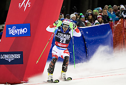22.12.2016, Canalone Miramonti Rennstrecke, Madonna di Campiglio, ITA, FIS Ski Weltcup, Madonna di Campiglio, Slalom, Herren, 2. Lauf, im Bild Luca Aerni (SUI) // Luca Aerni of Switzerland reacts after his 2st run of men's Slalom of FIS ski alpine world cup at the Canalone Miramonti race course in Madonna di Campiglio, Italy on 2016/12/22. EXPA Pictures © 2016, PhotoCredit: EXPA/ Johann Groder