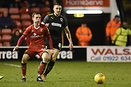 AFC Wimbledon midfielder Anthony Hartigan (8) closes down during the EFL Sky Bet League 1 match between Walsall and AFC Wimbledon at the Banks's Stadium, Walsall, England on 12 February 2019.
