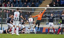 Falkirk's keeper Michael McGovern watches Dunfermline's Ryan Thomson's header go over..half time : Falkirk v Dunfermline, 16/2/2013..©Michael Schofield.