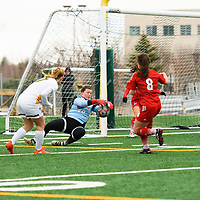 4th year forward Brianna Wright (7) of the Regina Cougars in action during the Women's Soccer home game on October 21 at U of R Field. Credit: Arthur Ward/Arthur Images