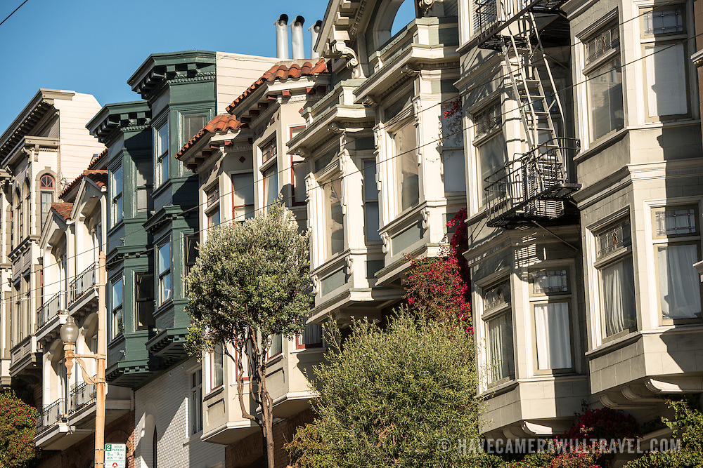 Some of the distinctive row houses of San Francisco in the North Beach neighborhood.
